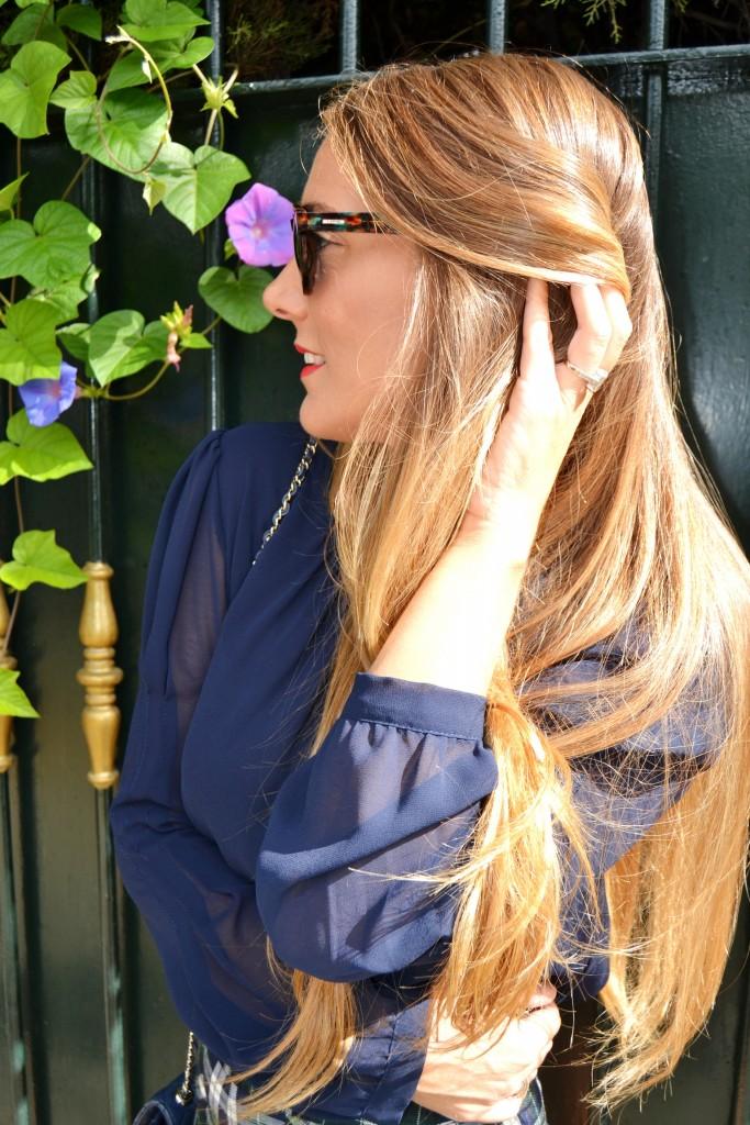 blusa de gasa en azul marino de Miel de acacia