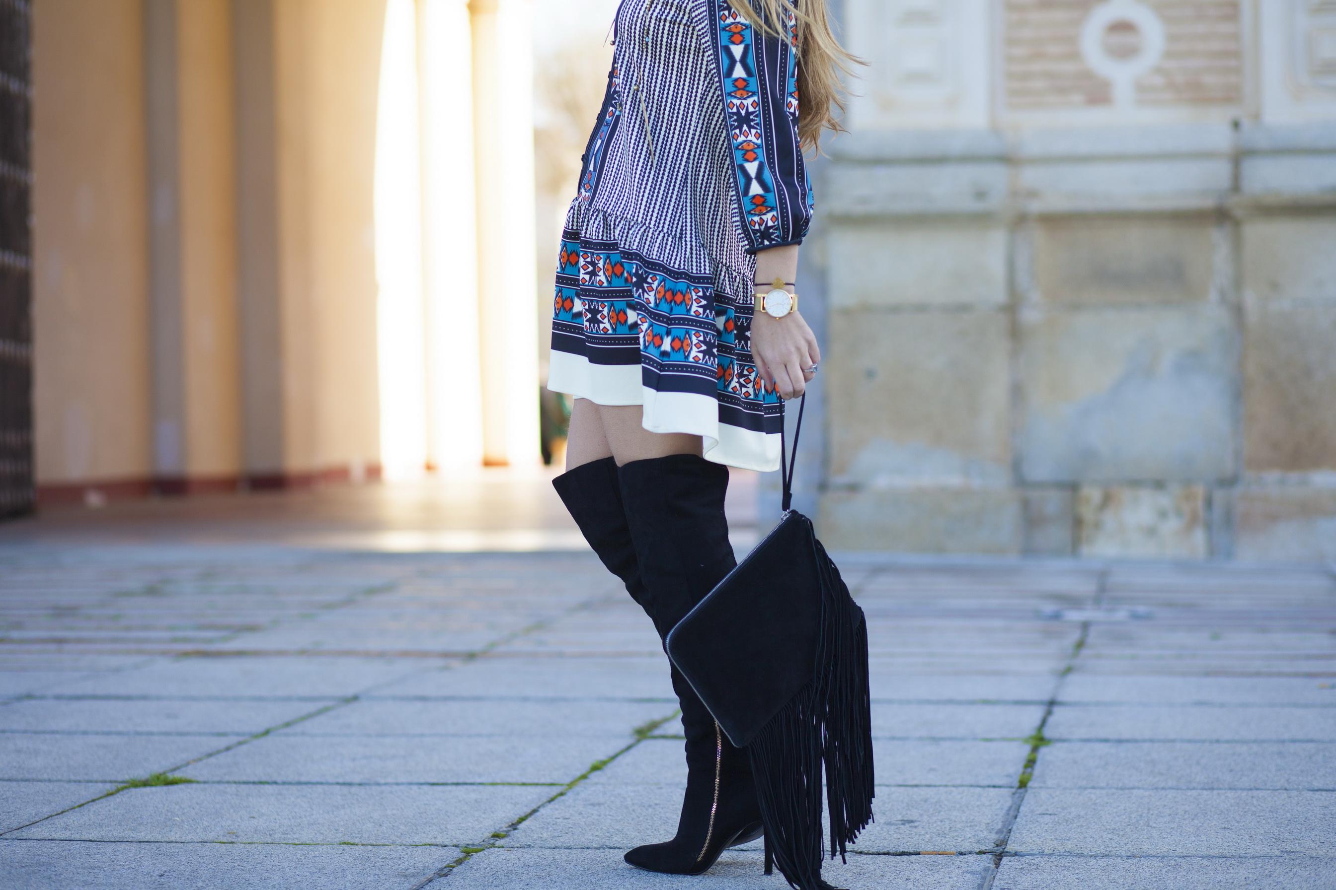 Vestido estampado étnico de colores