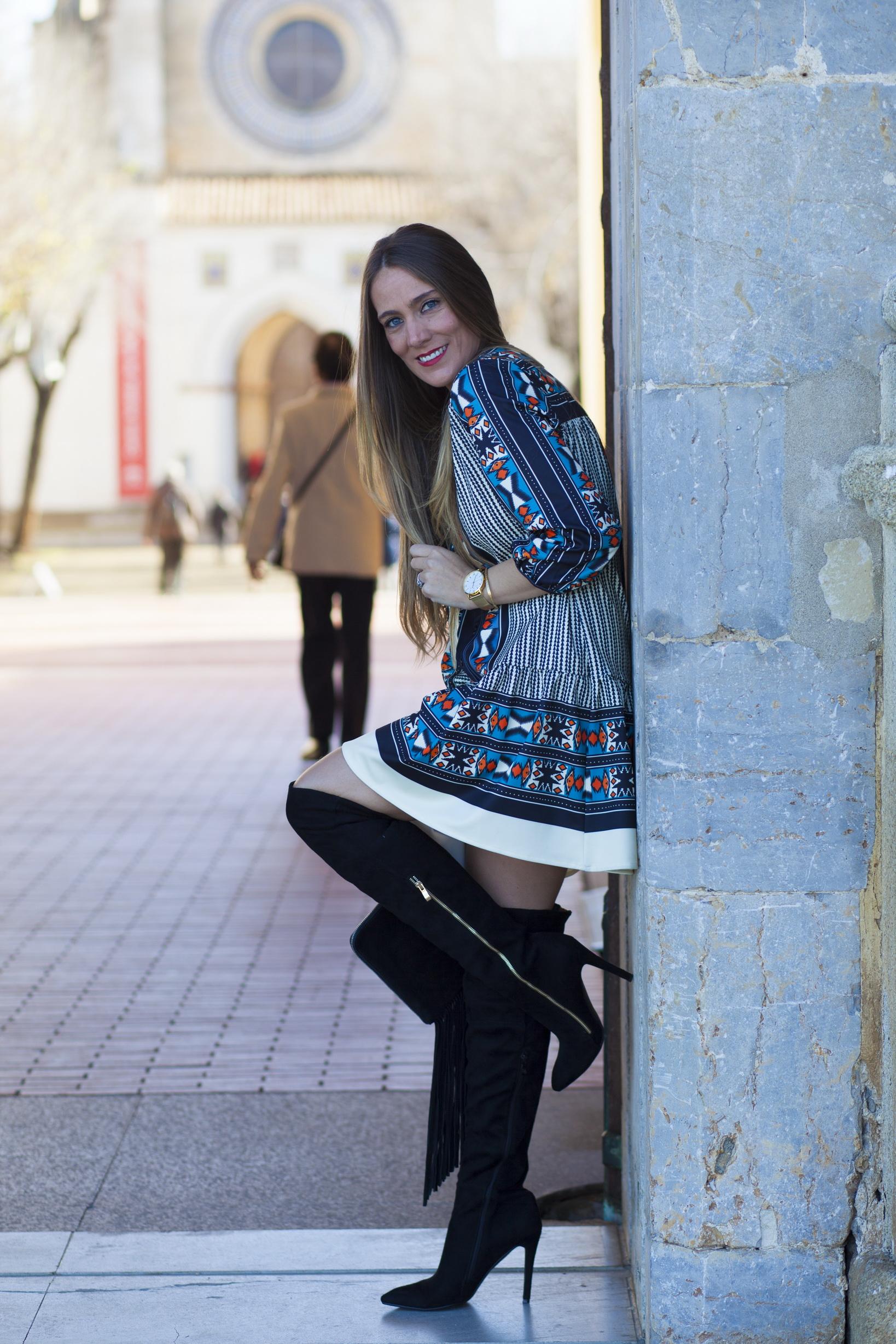 vestido estampado étnico sheinside