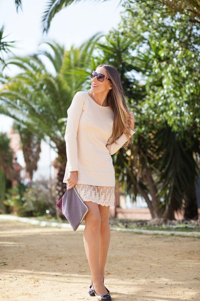 look casual con vestido beige