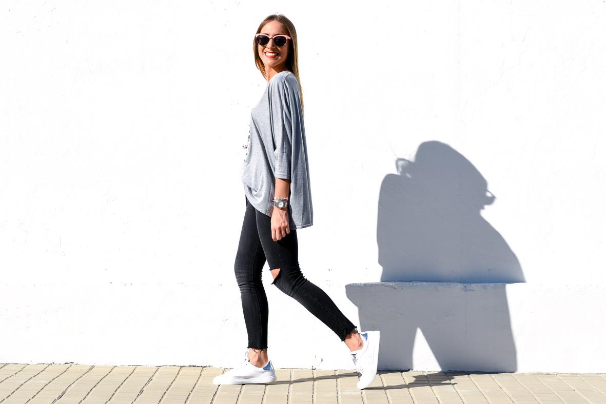 Sneakers retro color plata