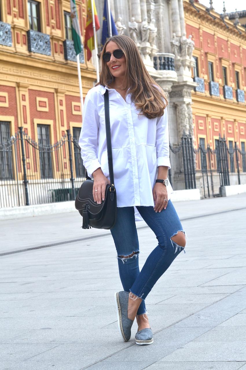 jeans rajado de corte capri de Zara