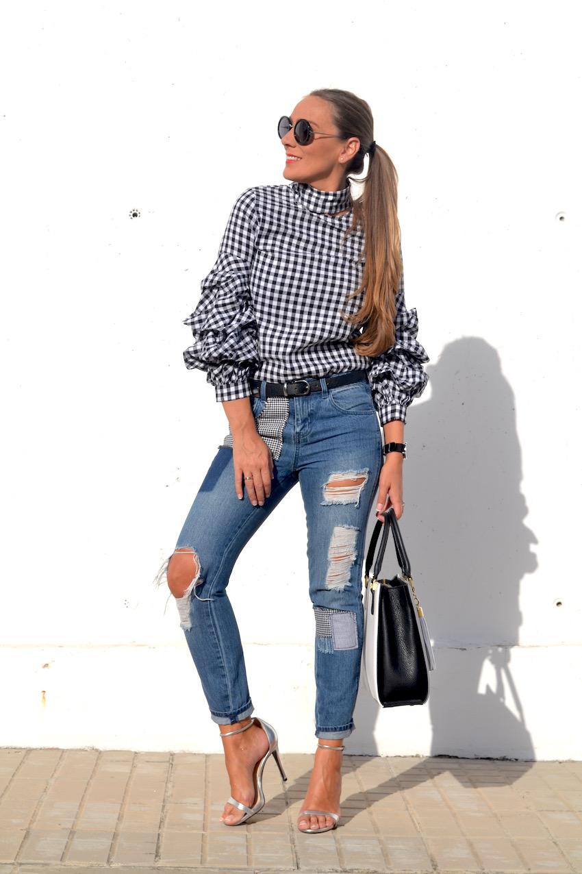 blusa sheinside con estampado en cuadro Vichy