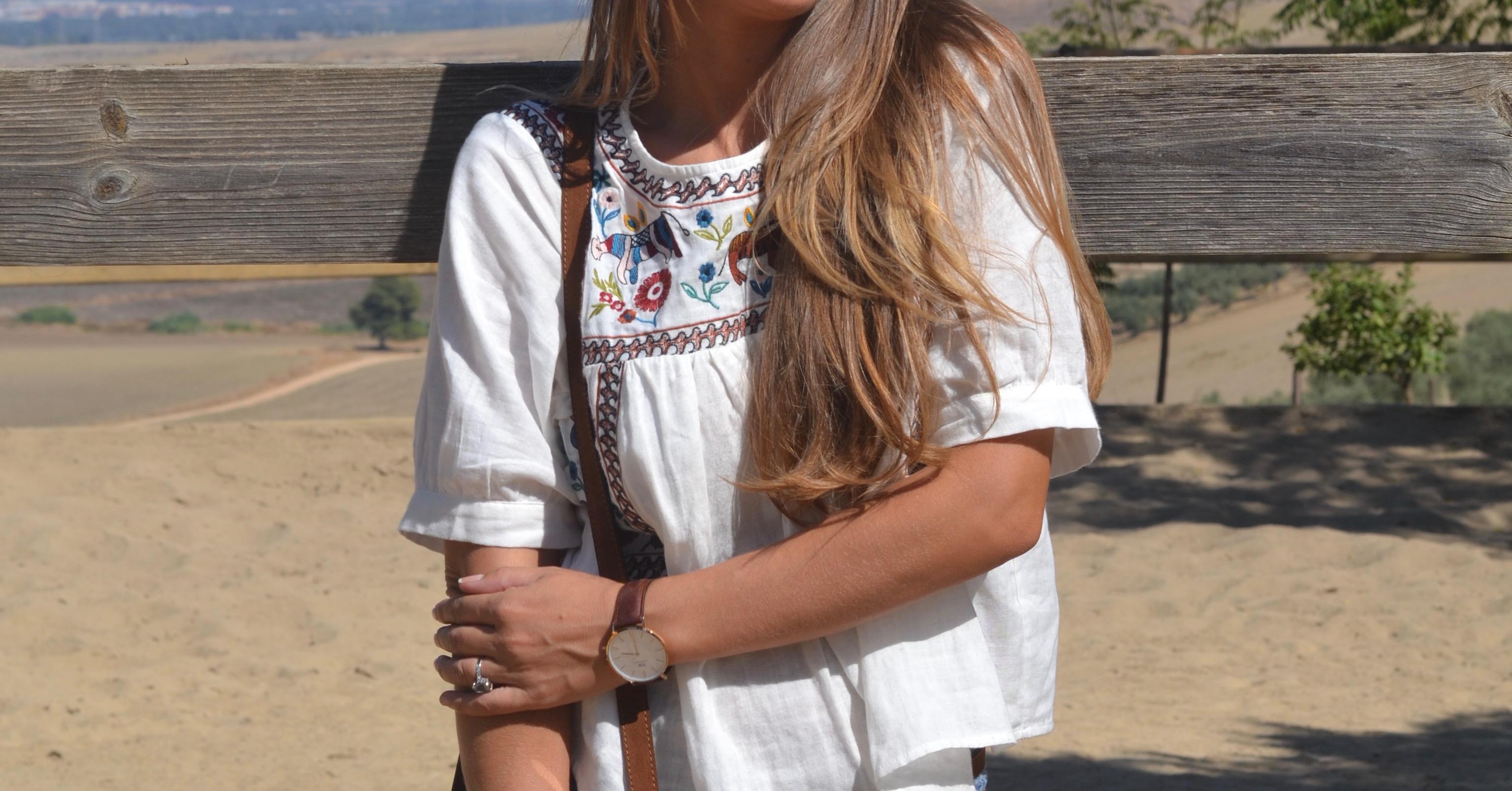 Blusa bordada de Sheinside para el otoño